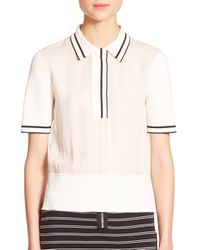 Rag & Bone - Natural Dana Striped Silk Polo Shirt - Lyst
