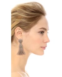 Oscar de la Renta | Natural Short Tassel Earrings - Khaki | Lyst
