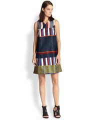SUNO - Multicolor Stripedblocked Satin Dress - Lyst