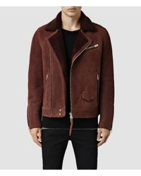 AllSaints | Brown Reeve Shearling Biker Jacket for Men | Lyst