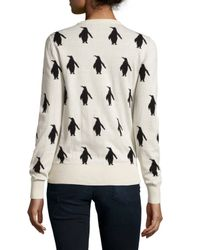 French Connection - Natural Penguin-print Crewneck Sweater - Lyst