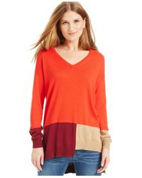 Vince Camuto | Orange Colorblocked Hi-low Sweater | Lyst