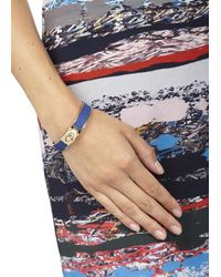 COACH - Blue Leather And Gold Plated Bangle - Lyst