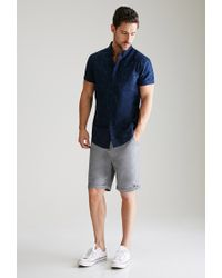 Forever 21 - Gray Cuffed Chino Shorts for Men - Lyst