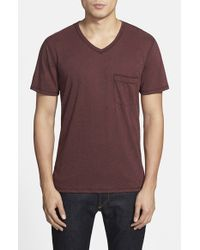 7 For All Mankind | Red Raw Edge V-Neck T-Shirt for Men | Lyst