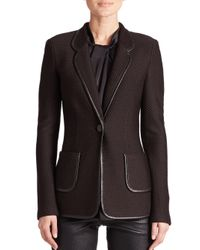 St. John - Brown Leather-trimmed Knit Jacket - Lyst
