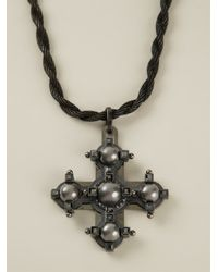 Lanvin - Metallic Cross Pendant Necklace - Lyst