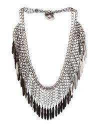 Saint Laurent | Metallic Plumes Fringe Necklace | Lyst