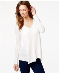 Kensie | White Draped Waffle-knit Top | Lyst