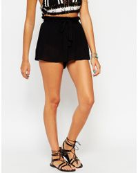 ASOS | Black Woven Flippy Shorts With Tie Waist | Lyst