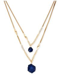 Kenneth Cole | Blue Gold-tone Duo Stone Pendant Necklace | Lyst