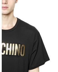 Moschino | Black Logo Printed Cotton Jersey T-shirt for Men | Lyst
