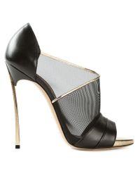 Casadei - Black Mesh Panelled Sandals - Lyst