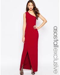 7c17a2124f963 Lyst - ASOS Red Carpet One Shoulder Maxi Dress in Black