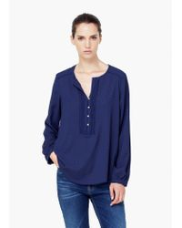 Mango | Blue Pleated Detail Blouse | Lyst