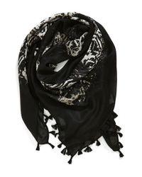 Hinge | Black 'fade Away' Square Tassel Scarf | Lyst