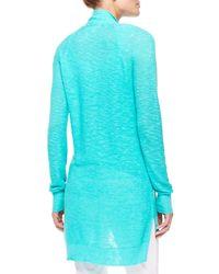 Eileen Fisher | Blue Linen-cotton Slub Cardigan | Lyst