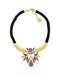 BCBGeneration | Metallic Gold Tone Black Rope and Crystal Stone Statement Necklace | Lyst