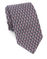 Ferragamo - Gray Owls & Flowers Silk Tie for Men - Lyst
