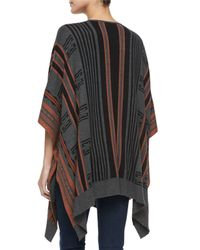 Cynthia Vincent - Gray Striped Open-front Poncho - Lyst