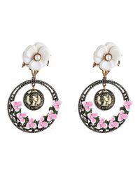 Betsey Johnson - Multicolor Vintage Flower Coin Drop With Hoop Clip Earrings - Lyst