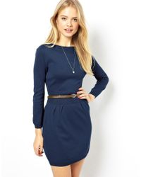 ASOS - Black Slash Neck Belted Dress - Lyst