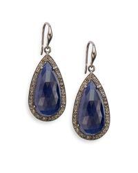 Bavna | Blue Sapphire, Champagne Diamond & Sterling Silver Teardrop Earrings | Lyst