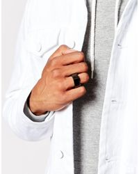 ASOS - Black Cracked Rock Ring for Men - Lyst