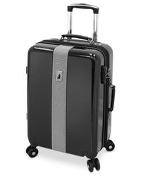 "London Fog | Black Cambridge 21"" Carry On Hardside Spinner Suitcase for Men 