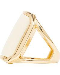 Balmain - Metallic White Inset Bone Ring - Lyst