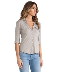 James Perse | Gray Slub Side Panel Button Front Shirt | Lyst