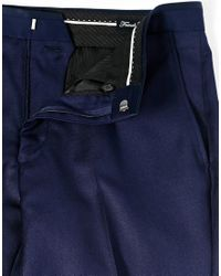 French Connection - Blue Slim Fit Suit Trouser Basket Weave for Men - Lyst