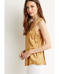 Forever 21 | Metallic Contemporary Pleated Sateen Top | Lyst