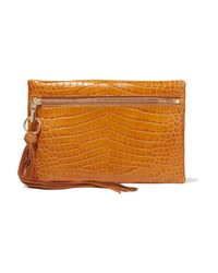 Elizabeth and James - Brown - Scott Croc-effect Leather Clutch - Tan - Lyst
