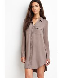 Forever 21 - Brown Utility Shirt Dress - Lyst