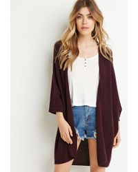 Forever 21 | Purple Marled Open-front Cardigan | Lyst