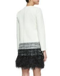 MILLY | Black Zip-front Feather-trim Jacket | Lyst