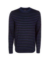 Paul Smith - Blue Men's Indigo And Black Stripe Merino Wool Sweater for Men - Lyst