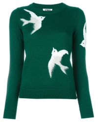 Sonia by Sonia Rykiel - Green Bird Intarsia Sweater - Lyst