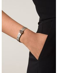 Eddie Borgo | Metallic Clear Pave Cone Leather Bracelet | Lyst