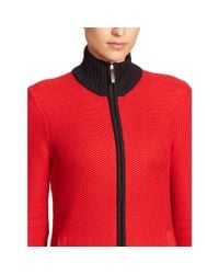 Ralph Lauren - Red Color-blocked Cotton Sweater - Lyst