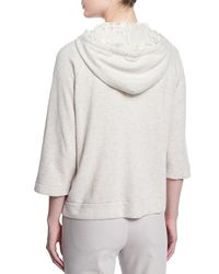 Brunello Cucinelli - Natural 2-ply Cashmere Zip-front Hoodie - Lyst