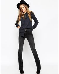f3adc9ec39 ASOS Asos Denim Shirt In Washed Black With Sharp Collar in Black - Lyst