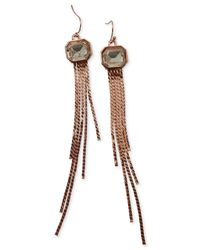 Guess | Pink Rose Gold-tone Crystal Tassel Drop Earrings | Lyst