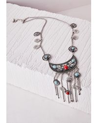 Missguided - Metallic Boho Bead Charm Necklace Silver - Lyst