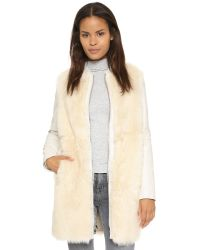 VINCE | Natural Leather & Shearling Coat | Lyst