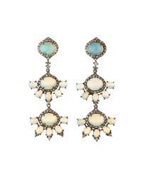 Bavna | Metallic Opal & Diamond Triple-Drop Earrings | Lyst