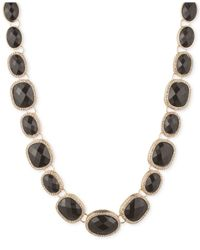 Anne Klein | Metallic Gold-tone Faceted Jet Stone Necklace | Lyst
