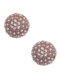 Anne Klein | Pink Rose Gold-tone Crystal Fireball Stud Earrings | Lyst