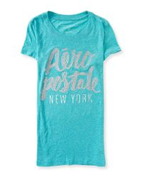 Aéropostale | Blue Aero New York Glitter Graphic T | Lyst